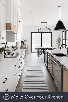Modern Farmhouse Kitchens, Farmhouse Kitchen Decor, Home Kitchens, Cottage Kitchens, Farmhouse Plans, Farmhouse Style, Interior Design Kitchen, New Kitchen, Kitchen Reno