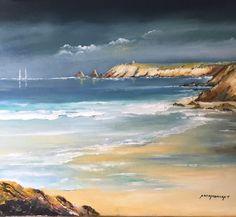 Pointe du Percho Quiberon - Peinture ©2017 par André Kermorvant - Art figuratif, Toile, Paysage marin, quiberon, pointe du percho, mer, côte sauvage, bretagne