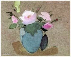 Helena Sofia Schjerfbeck (Finnish, 1862 - 1946) «Roses in a vase Green» 1942