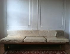 white couch, molding