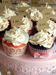 I Do Cupcake Flag Toppers Wedding Day Bridal Shower Shabby Chic Party Picks