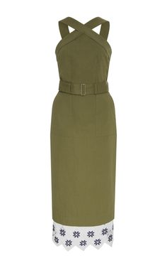 Cotton Belted Pencil Dress by SUNO available at Moda Operandi...great army green/ olive color with some fresh blue and white crochet details at the bottom. This would go perfectly with some tan leather strappy sandals for a summer party.