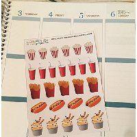 pop corn, fries, hot dog, fast food planner stickers