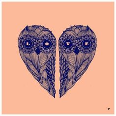 ♥ ♫ ♥ love heart owls! Would look awesome as friendship tattoos. One each that fit together as a heart! ♥ ♫ ♥