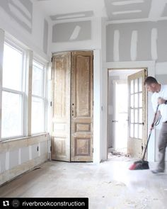 Look at this space! Can't wait to see the finished room! always makes our doors look good. Custom Interior Doors, Black Interior Doors, Antique Interior, Interior Trim, Interior Design, Door Design, House Design, White Master Bathroom, Small Room Bedroom