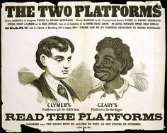 Racist campaign poster from the Pennsylvania gubernatorial election, 1866
