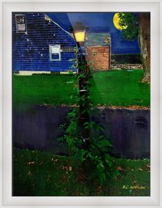 """Blue House  Blue Night"" by RC DeWinter, Fairfield, CT // <strong> 2011 RC deWinter ~ All Rights Reserved<br><br><i>Home is the place where, when you have to go there,<br>They have to take you in.</i><br>from<i> The Death of the Hired Man,</i> Robert Frost<br><br>Digital oils; taken from an original photograph shot<br>September 17,... // Imagekind.com -- Buy stunning fine art prints, framed prints and canvas prints directly from independent working artists and photographers."