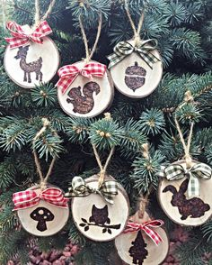 Wooden Christmas ornaments Woodland by TheDavidsonDesign on Etsy