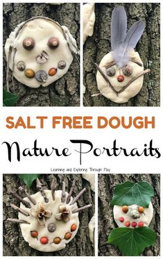 Dough Nature Portraits Dough Nature Portraits Forest School Activities<br> Using our special salt free dough recipe, venture into the woods to create super cute nature portraits on the tree trunks. Forest School Activities, Nature Activities, Toddler Activities, Outdoor Preschool Activities, Eyfs Activities, Creative Curriculum Preschool, Summer School Activities, Nursery Activities, Playdough Activities