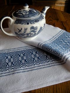Handwoven Cotlin towel  Blue Flower Border by ThistleRoseWeaving, $22.00