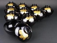 輪島塗: 菊の葉蒔絵汁椀