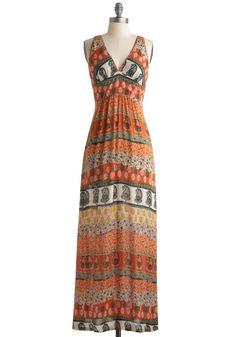 aztec print maxi dress - Company's Coming Dress - Orange, Multi, Floral, Maxi, Sleeveless, Yellow, Green, Paisley, Long, Black, White, Casual, Summer, Boho, Vintage Inspired, 70s, Print, Sheer, Beach/Resort, V Neck