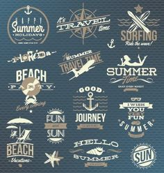 Vintage Summer vacation travel Logos vector 01 | Vector logo