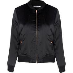 Petite Black Satin Bomber Jacket ($64) ❤ liked on Polyvore featuring outerwear, jackets, black, bomber jacket, sports jacket, zip front jacket, bomber style jacket and flight bomber jacket