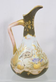 Very Fine Bohemian Harrach Glass Ewer Birds