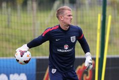 Joe Hart of England during a training session at St Georges Park on September 3, 2013 in Burton-upon-Trent, England