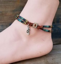 Beaded Leather Wrap Anklet For Women Ankle Bracelet Seed Bead Leather Wrap Ankle Bracelet Bohemain Jewelry Mens Leather Bracelet Unisex Ankle Bracelets, Silver Bracelets, Jewelry Bracelets, Bracelet Charms, Silver Ring, Beaded Anklets, Beaded Jewelry, Jewelry Findings, Jewellery