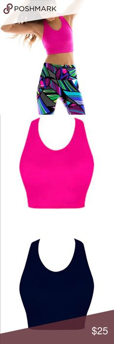 K.DEER Crop Top with Shelf Bra in 'Haute Pink' **Buy as a set with leggings (separate listing, but pictured here) or buy in navy (separate listing, but pictured here)*** Crop Top features a soft, low-impact, built in shelf bra that marries function and comfort. Soft seams at the neck, arms and hem provide one less distraction in your active life.  Higher neckline for less cleavage UPF 50+ sun protection Fits comfortably up to a D cup All-American made Fits true to size and has nice stretch…