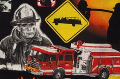 Fireman FabricCollage Design of all things Related by ginnyandco, $7.50