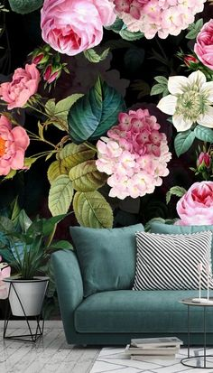 How to add a wall mural step by step with Wallsauce. Add a stunning floral wall mural in your living room and make it st How To Hang Wallpaper, Rose Wallpaper, Wall Wallpaper, Romantic Home Decor, Romantic Homes, Romantic Cottage, Summer Door Wreaths, Wreaths For Front Door, Mural Painting