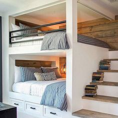 Bunk beds design and room ideas. Most amazing bunk beds for kids. Designing bunk beds that you might like. Bunk Bed Rooms, Bunk Beds Built In, Bunk Beds With Stairs, Adult Bunk Beds, Bunk Beds For Adults, Built In Beds For Kids, Teen Bunk Beds, Loft Bedrooms, Double Bunk Beds