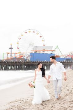 Santa Monica Pier Destination wedding and engagement photographers based in Knoxville, Tennessee. Click to see more photos by Shane and Beth of Shane Hawkins Photography