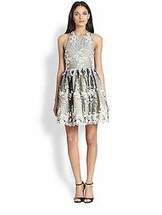 Alice + Olivia Dot Embellished Lace Dress