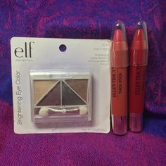 New! Elf eyeshadow and 2 Ellen Tracy Thick Sticks Brand New! Bundle! Elf eyeshadow brightening eye color still in package and 2 Ellen Tracy Thick Sticks which are like lip crayons. These are all brand new, never used. ELF Makeup Eyeshadow