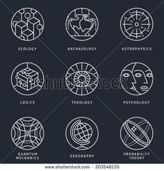 Illustrations and logo templates of science areas. Ecology, Archaeology, Astrophysics, Logic, Theology, Psychology, Quantum Physics, Geography, Probability theory. Detailed vector icons set.