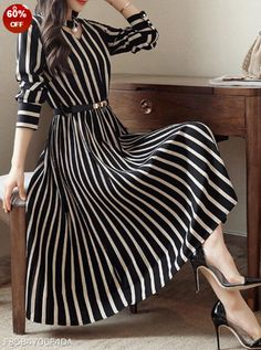 Round Neck Cutout Vertical Striped Belt Midi Skater Dress The most beautiful and newest outfit ideas Mode Outfits, Dress Outfits, Fashion Dresses, Maxi Dresses, Woman Dresses, Evening Dresses, Resort Dresses, Hijab Dress, Shift Dresses