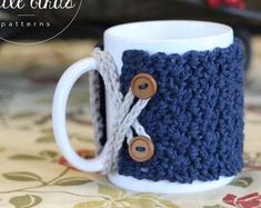 Crochet mug cozy pattern coffee cozy tea cozy set of 3 patterns gift for coffee lover customizable to your own mug size MARLOWE COZY Crochet Coffee Cozy, Crochet Cozy, Crochet Gifts, Cozy Coffee, Hand Crochet, Coffee Cozy Pattern, Confection Au Crochet, Crochet Kitchen, Coffee Lover Gifts