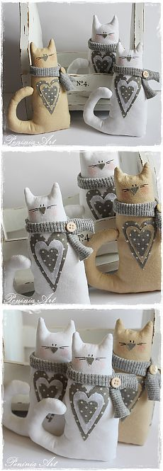 : Kolejne kotki z szaliczkami. Sewing Toys, Sewing Crafts, Sewing Projects, Sewing Stuffed Animals, Stuffed Animal Patterns, Fabric Toys, Fabric Crafts, Cat Crafts, Diy And Crafts
