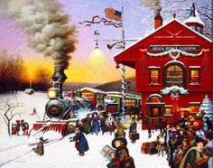 Charles Wysocki Whistle Stop Christmas limited by printsdotcom