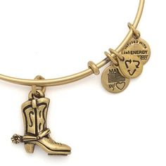 Alex and Ani Cowboy Boot Expandable Wire Bangle Russian Gold