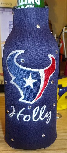 I want this!  Not because I drink beer but because who doesn't want a bling Texans cuzie and it already has my name on it!
