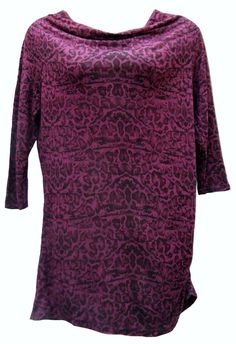 TOMMY & KATE PURPLE/BLACK COWL NECK 3/4 SLEEVED TUNIC CASUAL TOP SIZE MEDIUM