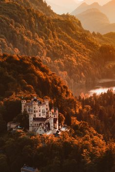Hohenschwangau Castle or Schloss Hohenschwangau (lit: Upper Swan County Palace) is a 19th-century palace in southern Germany. You can see it from Neuschwanstein castle touching the Black Forest and German/Swiss Alps