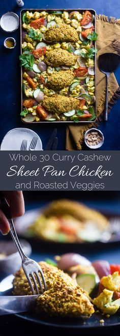 Sheet Pan Curry Cashew Chicken - This Low Carb Cashew Chicken Is Flavored With Curry, And The Whole Meal Is Made On One Sheet It's An Easy, Healthy Weeknight Meal The Whole Will Love, For Under 400 Calories Foodfaithfit Whole30 Dinner Recipes, Paleo Chicken Recipes, Healthy Gluten Free Recipes, Real Food Recipes, Paleo Dinner, Chicken Meals, Turkey Recipes, Clean Eating Chicken, Clean Eating Dinner