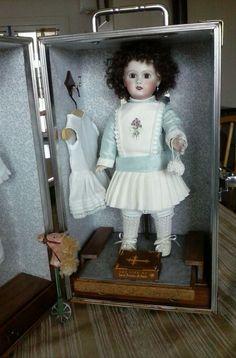 "Beautiful Reproduction Jumeau Bisque Doll 11"" Docorative Closet"