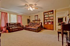 Tips for Realtors: When staging this room to sell.  I would move the sofa to be parallel to the loveseat.  That way the fireplace (ie. selling feature) isn't blocked by the sofa. #badstaging