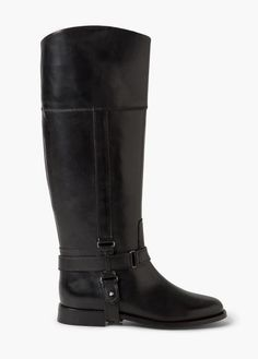 Shop Outlet MANGO Women Leather Kneelength Boots Black