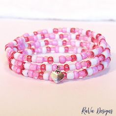 heart charm valentine's day bracelet handmade memory wire jewelry pink white beads Memory Wire Jewelry, Wooden Jewelry, Diy Bracelet Storage, Handmade Bracelets, Beaded Bracelets, Jewelry Rack, White Beads, Something Beautiful, Handmade Wooden