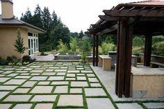 Bluestone patio with grass ; stained pergola