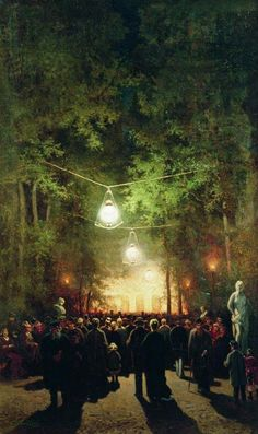 Efim Efimovich Volkov (1844-1920) - The party in the summer garden