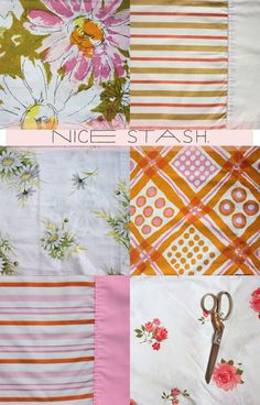 How fun would it be to make a tablecloth of a bunch of different springy prints? Vintage Bedding, Vintage Sheets, Easy Sewing Projects, Sewing Crafts, Diy Projects, Old Sheets, Diy Pillow Covers, Textiles, Vintage Tablecloths