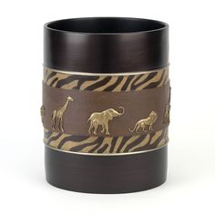 The Animal Parade Wastebasket features a beautifully detailed rendering of safari animals framed with zebra skin and solid brown. This stylish accent adds the perfect amount of flair to any animal lover's décor.