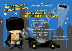 Batman Birthday Invitation - DIY Print Your Own - Matching party printables available