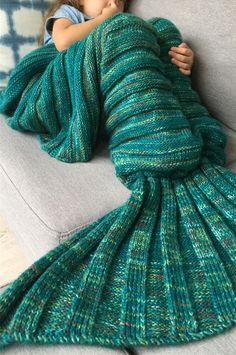 $24.11 Thicken Soft Knitted Sleeping Bag Kids Wrap Mermaid Blanket
