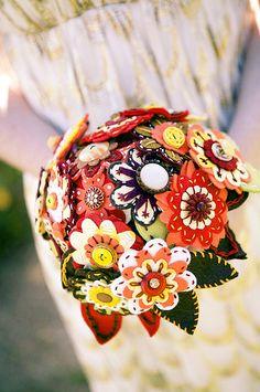 felt flower and button bouquet