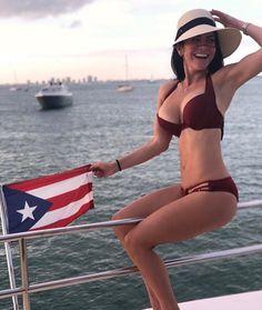 Image may contain: 1 person, sky, ocean, outdoor and water Puerto Rican Festival, Puerto Rico, Old San Juan, Flag Bikini, Dubai, Bikinis, Swimwear, Curvy, Real Estate